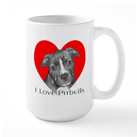 I Love Pitbulls Large Mug