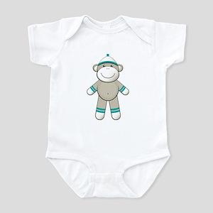 Aqua Sock Monkey Infant Bodysuit