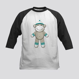 Aqua Sock Monkey Kids Baseball Jersey