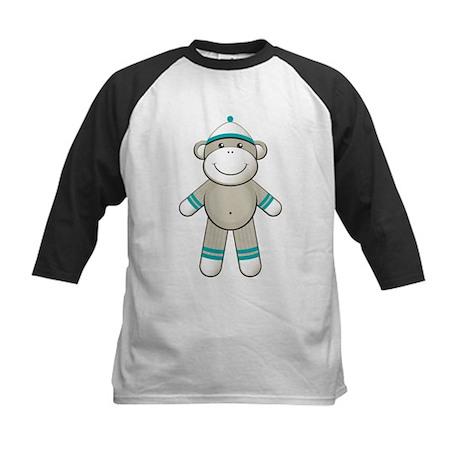 Aqua Sock Monkey Kids Baseball Jersey