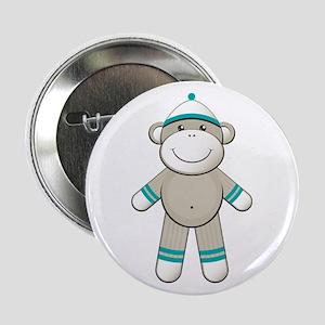 "Aqua Sock Monkey 2.25"" Button"