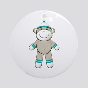 Aqua Sock Monkey Ornament (Round)