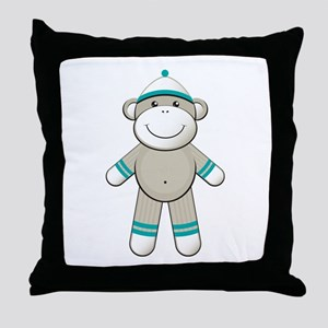 Aqua Sock Monkey Throw Pillow