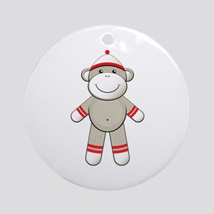 Red Sock Monkey Ornament (Round)