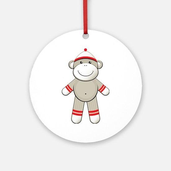 Red Sock Monkey Ornament (Round)
