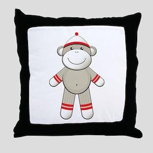 Red Sock Monkey Throw Pillow