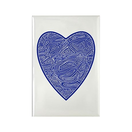 Blue Heart Rectangle Magnet