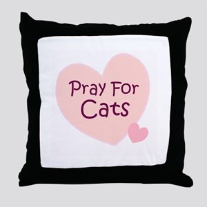Pray For Cats Throw Pillow