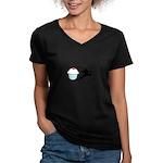 Cupcake Ninja Women's V-Neck Dark T-Shirt