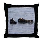 Sea Otters with Baby Throw Pillow