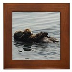 Mother and Baby Otter Framed Tile