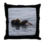 Mother and Baby Otter Throw Pillow