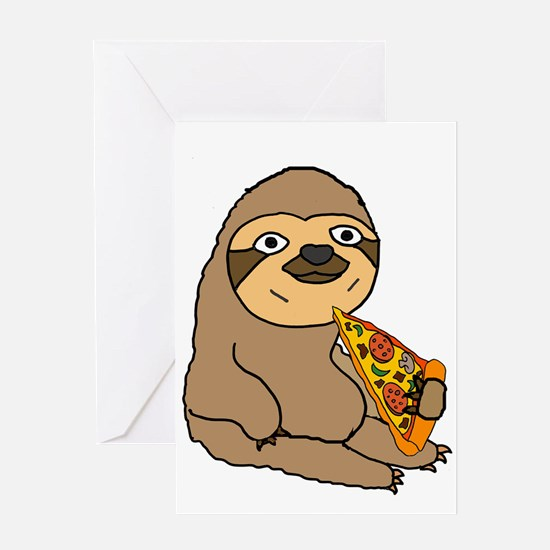 Funny Sloth Eating Pizza Greeting Cards