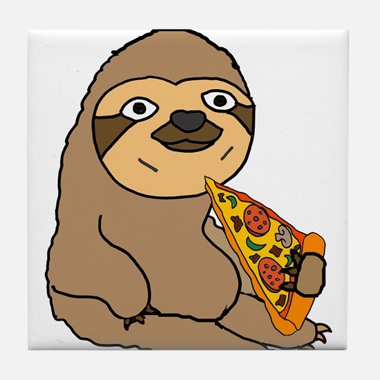Funny Sloth Eating Pizza Tile Coaster