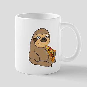Funny Sloth Eating Pizza Mugs