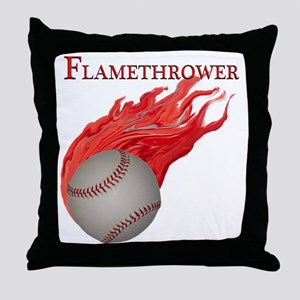Flamethrower Baseball Throw Pillow