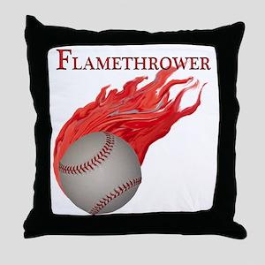 Flamethrower Baseball Throw Pillow
