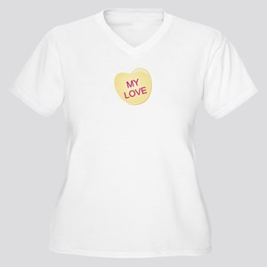 My Love Heart Women's Plus Size V-Neck T-Shirt