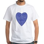 Blue Heart White T-Shirt