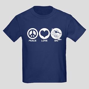 Peace Love Ski (male) Kids Dark T-Shirt