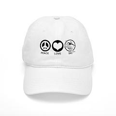Peace Love Ski (male) Baseball Cap