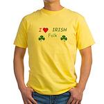 Love Irish Folk Yellow T-Shirt