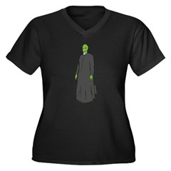Reptilian 1 Women's Plus Size V-Neck Dark T-Shirt