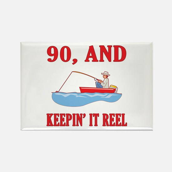 90 And Keepin' It Reel Rectangle Magnet