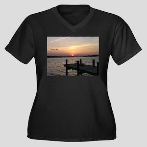 Barnegat Bay Women's Plus Size V-Neck Dark T-Shirt