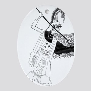 Athena vase drawing Ornament (Oval)