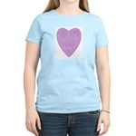 Purple/Pink Heart Women's Pink T-Shirt