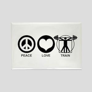 Peace Love Train Rectangle Magnet