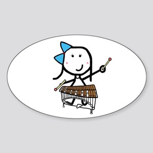 Girl & Pit Percussion Oval Sticker