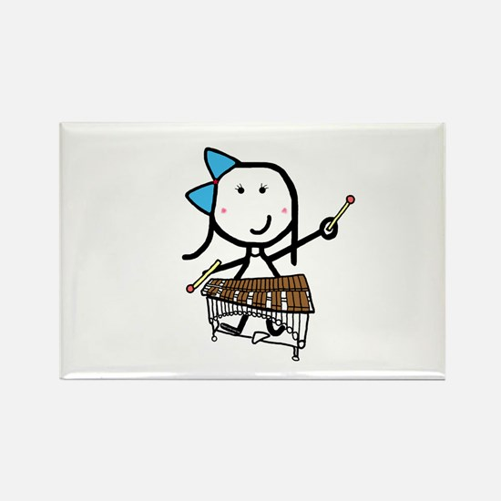 Girl & Pit Percussion Rectangle Magnet