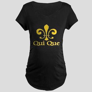 Qui Que Who Dat Cajun Maternity Dark T-Shirt
