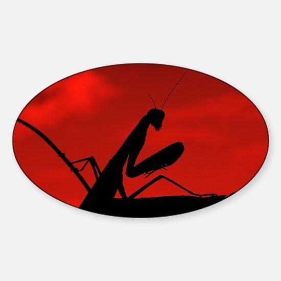 Red Sky Mantis Sticker (Oval)