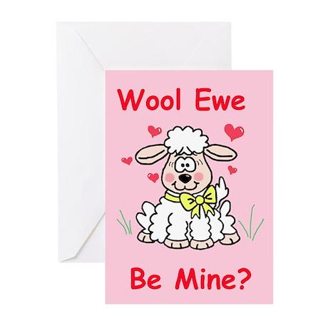 """""""Wool Ewe Be Mine?"""" Greeting Cards (Pk of 10)"""