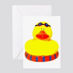Rubber bather yellow duck Greeting Card