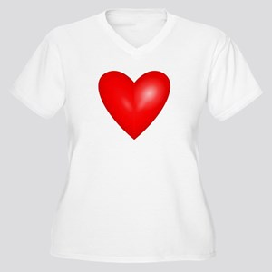 Big Red Heart 1 Women's Plus Size V-Neck T-Shirt