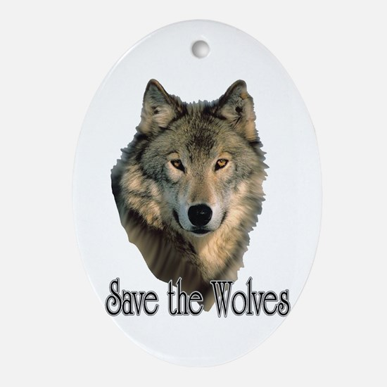 Save Wolves Ornament (Oval)