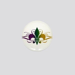 Purple Green Yellow Swirl Fleur De Lis Mini Button