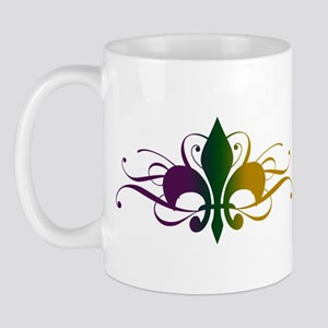 Purple Green Yellow Swirl Fleur De Lis Mug
