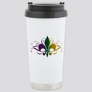 Purple Green Yellow Swirl Fleur De Lis Stainless S
