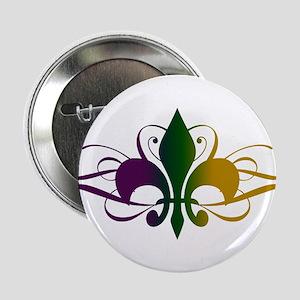 "Purple Green Yellow Swirl Fleur De Lis 2.25"" Butto"