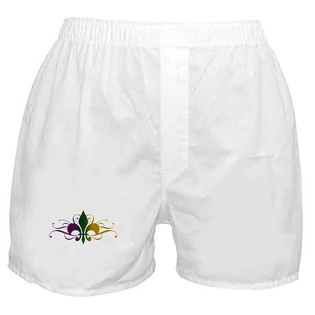 Purple Green Yellow Swirl Fleur De Lis Boxer Short