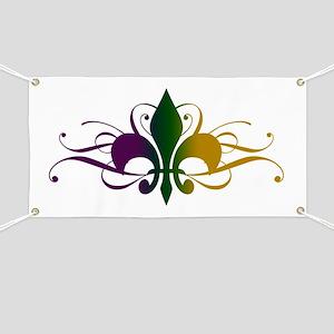Purple Green Yellow Swirl Fleur De Lis Banner