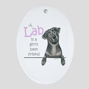 Black Lab BF Ornament (Oval)