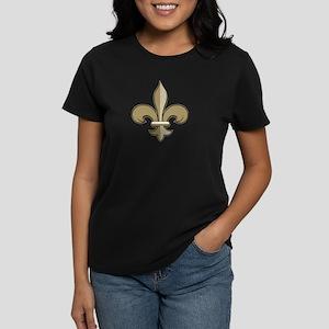 Fleur de lis black gold Women's Dark T-Shirt