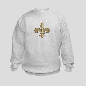 Fleur de lis black gold Kids Sweatshirt