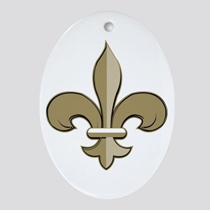 Fleur de lis black gold Ornament (Oval)